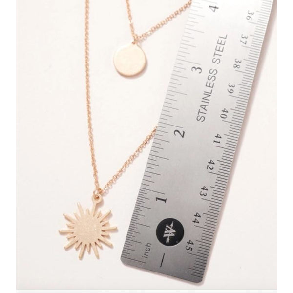 Sun Disc Layered Necklace