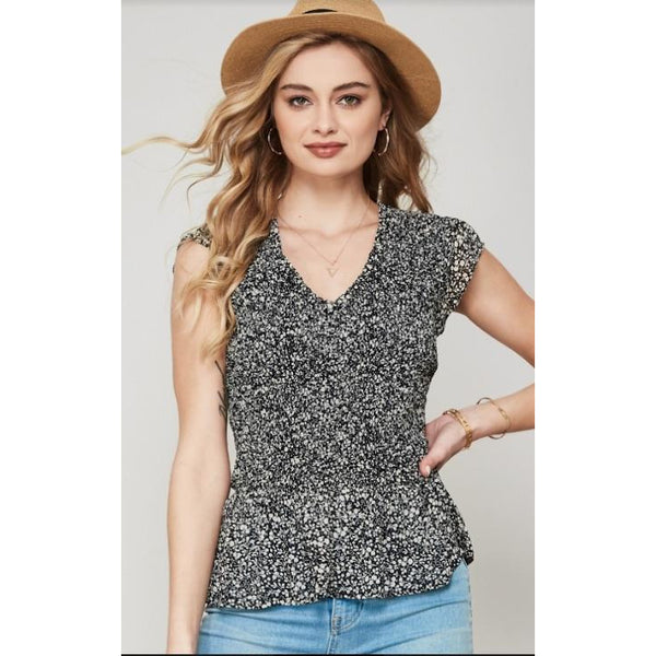 Hot July Smocked Peplum Top - Black