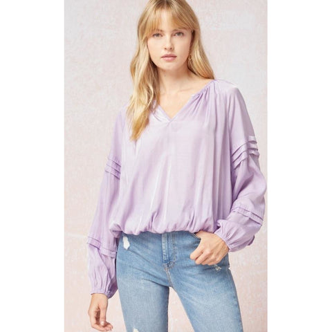 Kate Satin V-Neck Blouse - Lavender