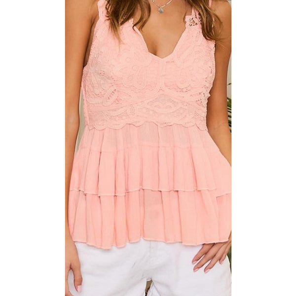 Double Strap Scalloped Lace Ruffle Top
