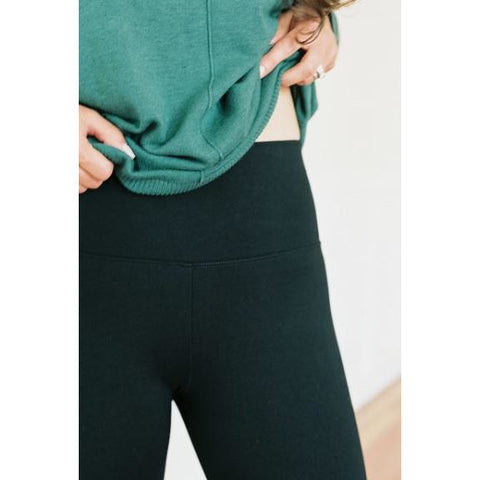 Premium High Waist Ponte Knit Leggings - Black