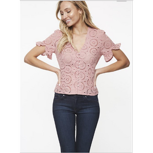 Rose Eyelet Cotton Top