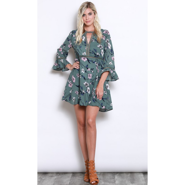 Floral Keyhole Dress -Sage