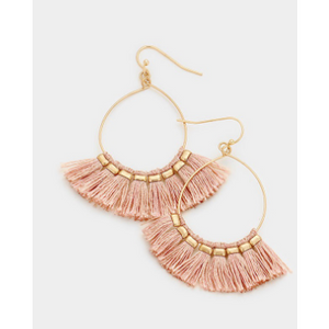 Tassel Hoop Earrings - Pink