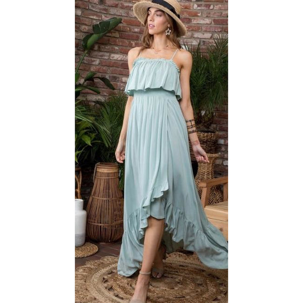 Surplice Ruffle Maxi Dress with Smocked Bodice