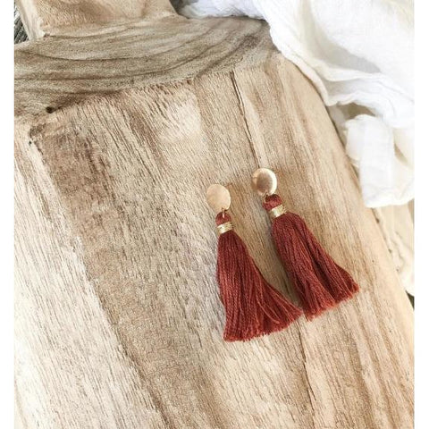 Tassel Earrings with Gold Stud - Rust