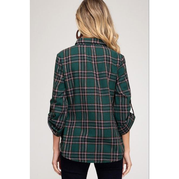 Julie Twist Front Plaid Shirt - Green