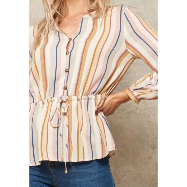 Fall Colors Drawstring Waist Button Down
