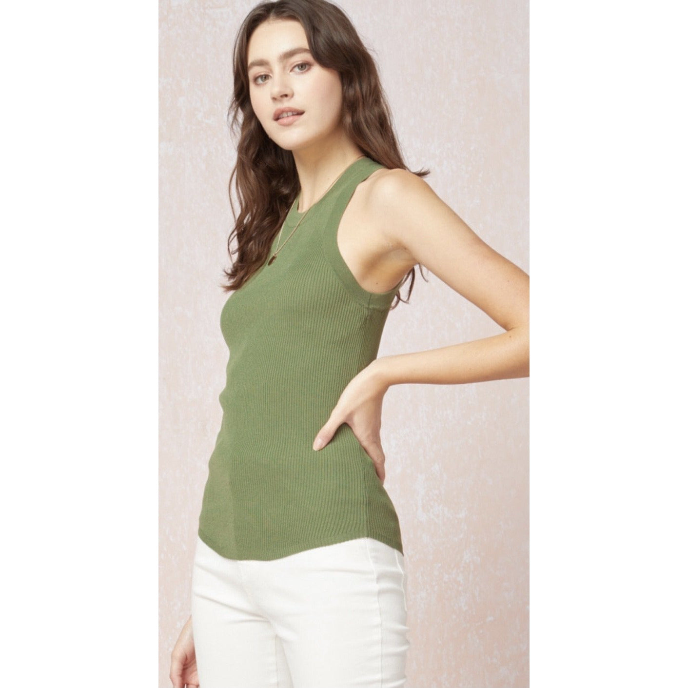 Stretchy Ribbed Tank - Olive