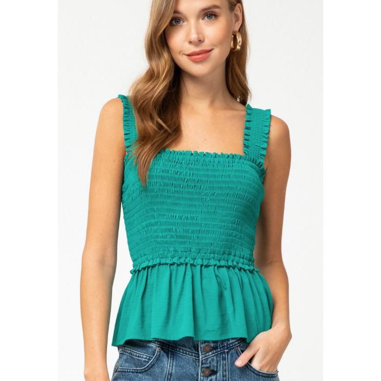 Smocked Peplum Tank - Green