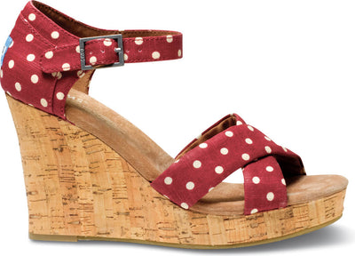 Red Polkadot Linen Women's Strappy Wedge