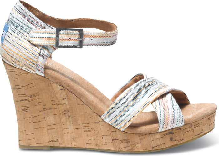 Multi Stripes Women's Strappy Wedge