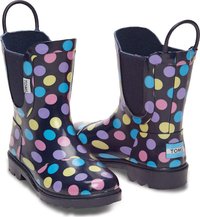 Multi Dot Rubber Youth Rainboot