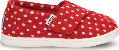 Red Wool Dots Tiny TOMS Classic Alpargata
