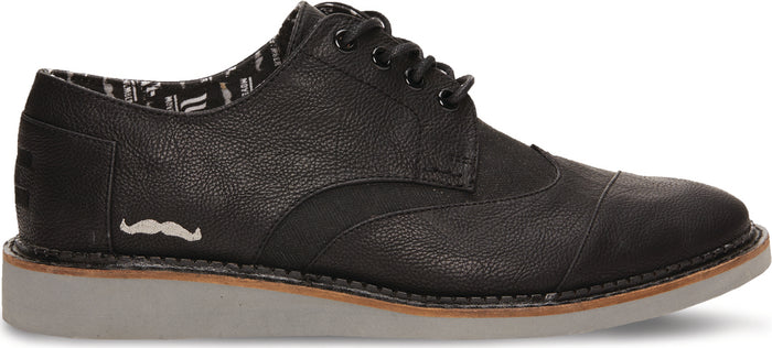 Movember Black Synthetic Leather Men's Brogue