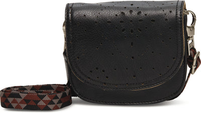 Black Patterned Perforated Hip Pack