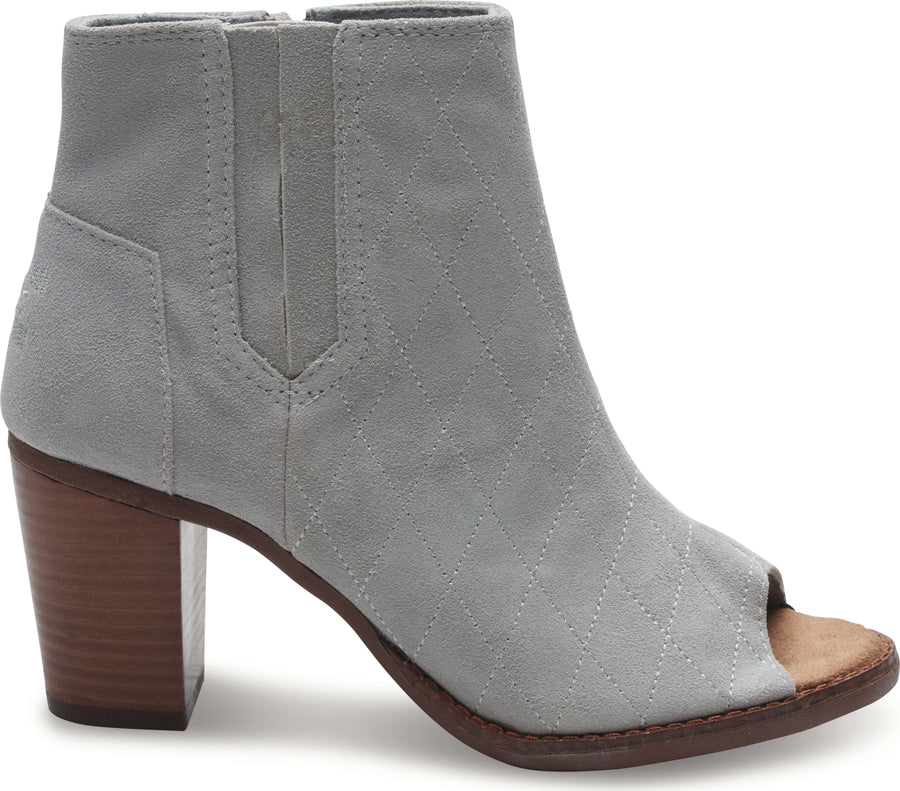 783e6b2acac High Rise Grey Quilted Suede Women s Majorca Peep Toe Bootie
