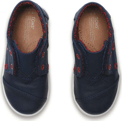 Black And Navy Synthetic Leather Tiny TOMS Bimini High Lace-Up