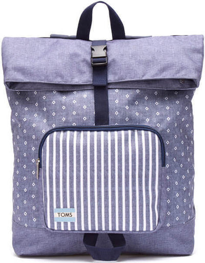 Chambray Diamond Stripe Printed Stand-Up Backpack