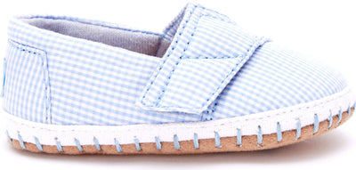 Blue Gingham Tiny TOMS Crib Alpargata