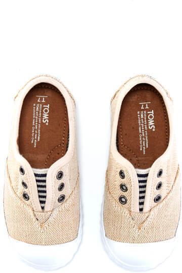 Natural Burlap Tiny TOMS Zuma Sneakers