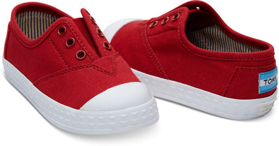 Red Canvas Tiny TOMS Zuma Sneakers