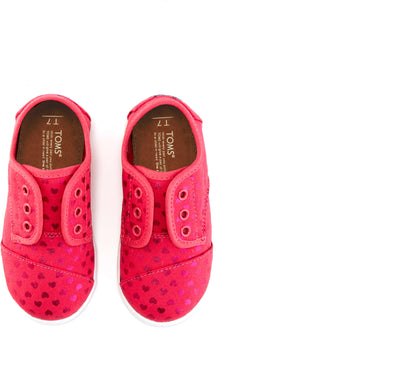 Pink Hearts Tiny TOMS Paseo Sneaker