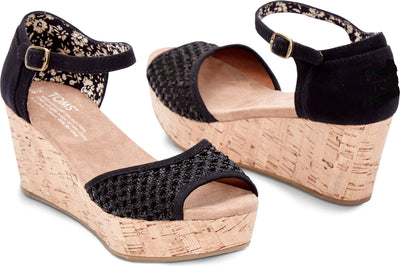 Black Crochet Cork Womens Classic Wedge