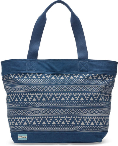 Navy Tribal Geometric Canvas Transport Tote