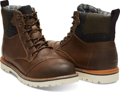 Waterproof Brown Leather Herringbone Men's Ashland Boot