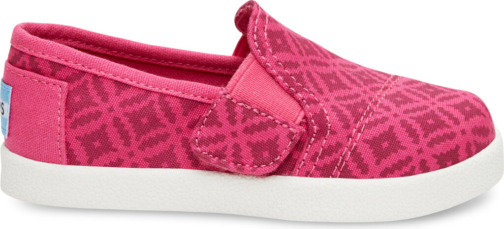 e3f450853e5 Pink Canvas Geo Tiny TOMS Avalon Slip-Ons