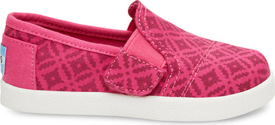 Pink Canvas Geo Tiny Toms Avalon Slip-Ons