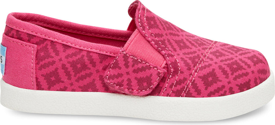 715d334b121 Pink Canvas Geo Tiny TOMS Avalon Slip-Ons