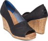 Black Linen Cork Women's Classic Wedge
