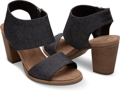 Black Denim Women's Majorca Cutout Sandals