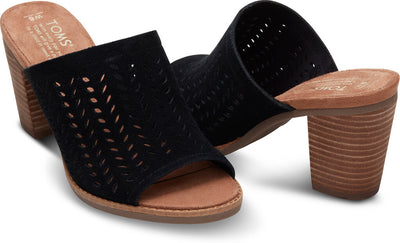 Black Suede Perforated Leaf Women's Majorca Mule Sandals