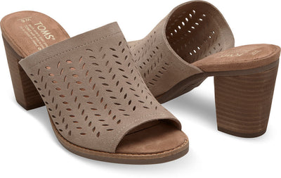 Taupe Suede Perforated Leaf Women's Majorca Mule Sandals