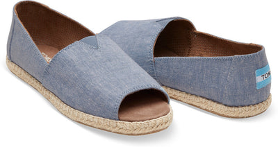 Blue Slub Chambray Women's Open Toe Alpargata