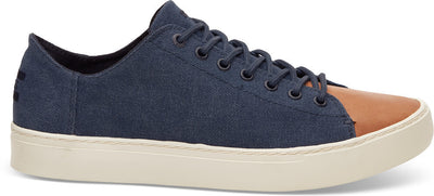 Navy Washed Canvas Leather Men's Lenox Sneakers