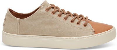 Desert Taupe Washed Canvas Leather Men's Lenox Sneakers