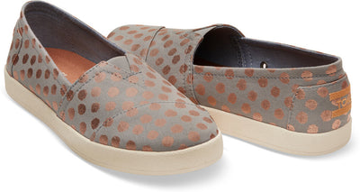 Drizzle Grey With Gold Foil Polka Dot Women's Avalon Slip-Ons