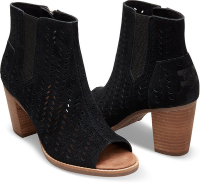 Black Suede Perforated Leaf Women's Majorca Peep Toe Bootie
