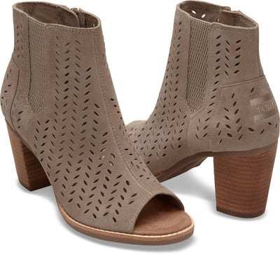 Taupe Suede Perforated Leaf Women's Majorca Peep Toe Bootie