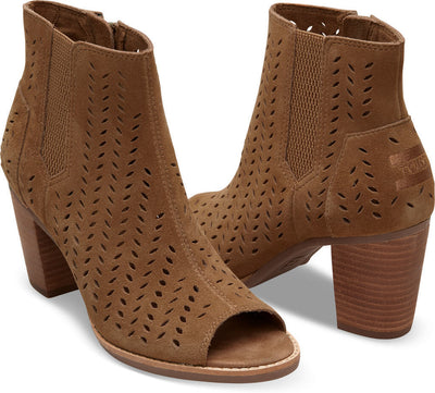 Toffee Suede Perforated Leaf Women's Majorca Peep Toe Bootie