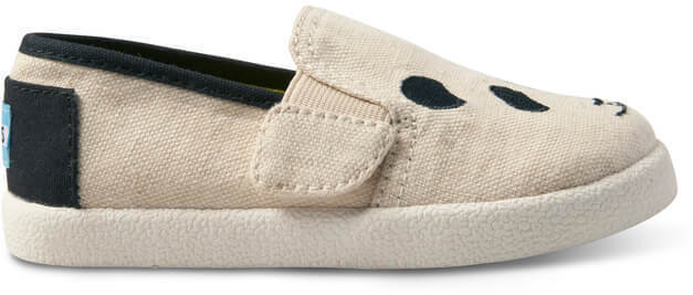 25869bd34a5 Panda Embroidered Tiny TOMS Avalon Slip-Ons