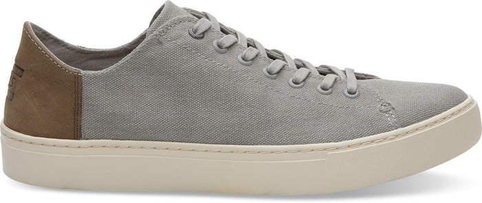 Grey Washed Canvas Leather Men's Lenox Sneakers