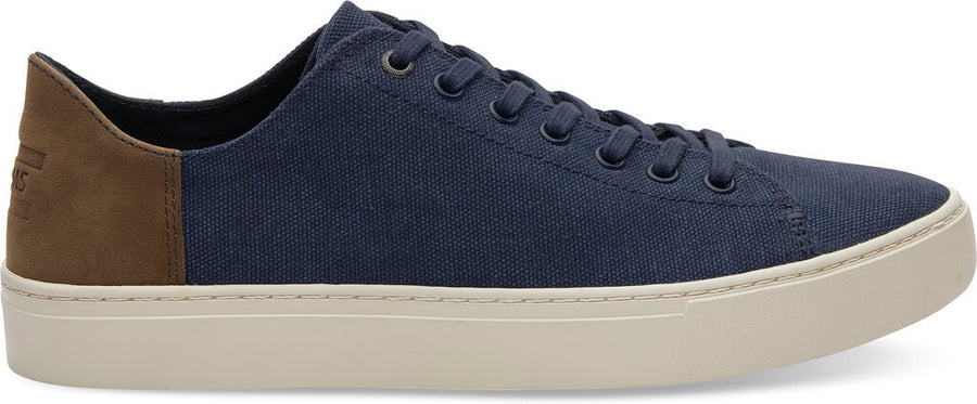 7913ef653f Navy Washed Canvas Leather Men's Lenox Sneakers