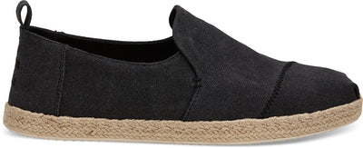 Black Washed Canvas Mens Deconstructed Alpargata
