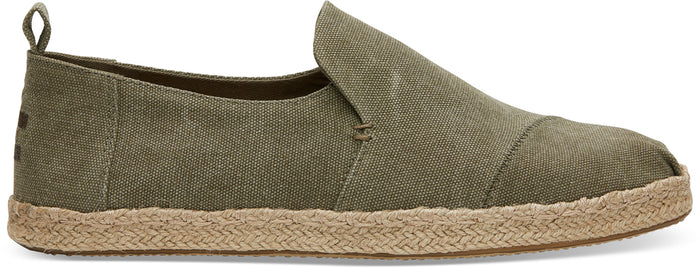 Olive Washed Canvas Mens Deconstructed Alpargata