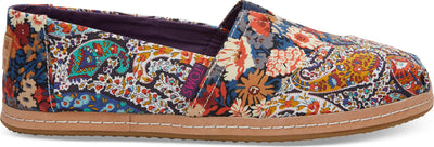 Navy Paisley Floral Linen On Leather Womens Alpargata